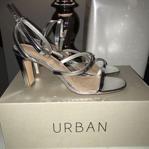 Urban outfitter silver heels 7.5